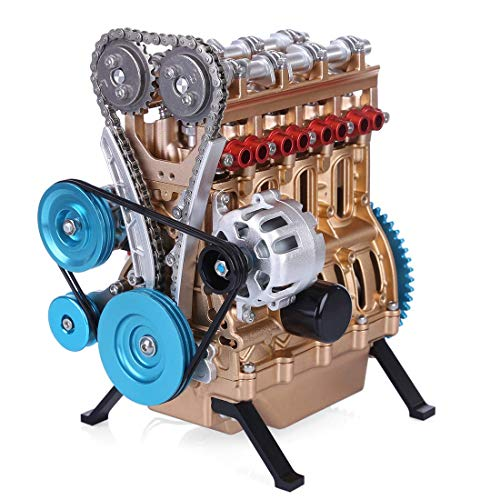 Yamix Full Metal Engine Model Desk Engine, Unassembled 4 Cylinder Inline Car Engine Model Building Kit Mini DIY Engine…