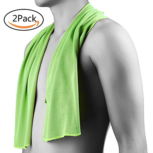 Cooling Towel,Soft Instant Cooling Ice Towel Keeps Body Temperature Lower for Quick Relief – Keep Cool for Fitness Gym Yoga Golf Football Basketball and All Other Sports (40-Inch,2pcs) (Green)