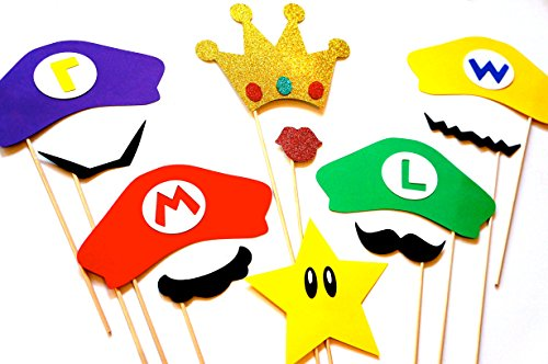 (Super Mario Brothers Props Set - 11 Piece Prop Set with Glitter)