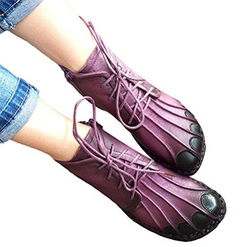 Vogstyle Damen Flach Plattform Pumps Schuhe Plateau Schnür Rund Toe Loafer Bootsschuhe Stile-1 Lila