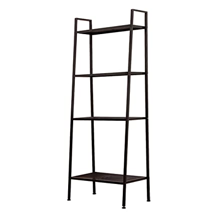 JS HOME 4 Tier Ladder Bookshelf Black
