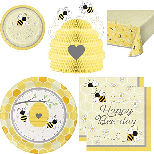 wildflower party Bee Themed Birthday Party Supplies, Serves 16 Guests: Dinner Plates, Dessert Plates, Happy Bee Day Napkins, Table Cover, Honeycomb Centerpiece, Planner