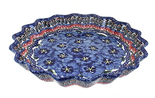 Polish Pottery Blue Art Scallop Quiche Dish