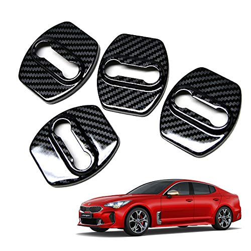 Performance Basic UV Carbon Door Striker Cover, Door Lock Cover Decoration and Protection Buckle Trim for Kia Stinger 2017 2018 2019~ (Carbon Black Color) ()