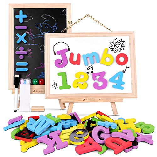 Gamenote Jumbo Magnetic Letters and Numbers with Mini 10.6 x 7.7 Double Sided Wooden Board,126pcs Foam Refrigerator ABC Magnets for Kids(Include Travel Storage Bag)