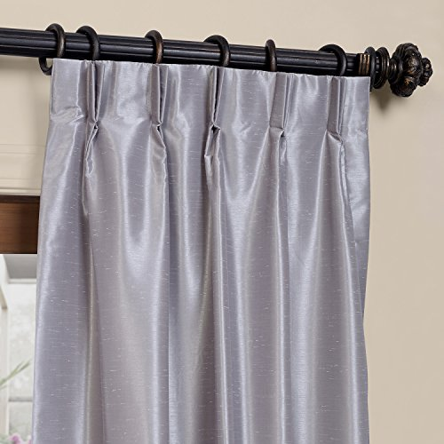 HPD HALF PRICE DRAPES Half Price Drapes PDCH-KBS9BO-96-FP Pleated Blackout Vintage Textured Faux Dupioni Silk Curtain, 25 x 96, Silver