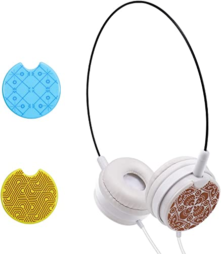 Kid s On Ear Headphones Portable and Ultra Light Wired Headset with Switchable Caps and 3 Pairs of Replaceable Plates 3.5mm Headset for Phone, Computer, Laptop, MP3 4