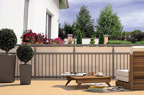 Balkon-Sichtschutz Balkon-Verkleidung Balkonumspannung Balkon-Windschutz CREME beige 24 m Kordel Maße: 6 x 0,9 m Polyester