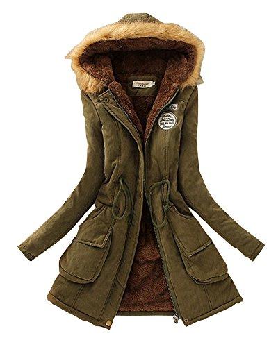 Femme Loisirs paissi Veste Avec Capuche Drawstring Long Chaud Manteau Vert Arme