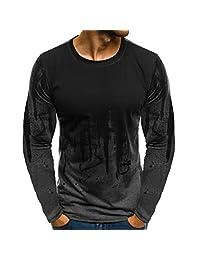 Men's Blouse Tee Shirt Tops Gradient Color Long-Sleeve Beefy Basic