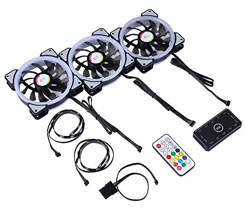 LEDdess RGB LED 120mm Case Fan with Controller for PC Cases, CPU Coolers, Radiators system (3pcs rgb fans, 2pcs led strips, 2nd Gen RF Remote Control, A Series) by LEDdess (Image #5)'