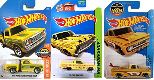 Trucks Yellow Hot Wheels Series #72 Custom '62 Chevy Pickup Surf Board City & 1978 Dodge Li'L Red Express #11 & '65 Ford Ranchero Pickup #212 3-Pack in Protective Cases