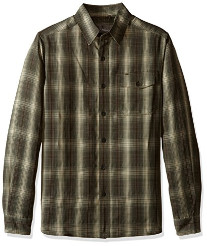 Royal Robbins Men's Pine Crest Plaid Long Sleeve Shirt,DK OLIVE,Large
