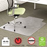 EnvironMat Recycled Anytime Use Chair Mat, Med Pile Carpet, 45x53 w/Lip, Clear, Sold as 1 Each