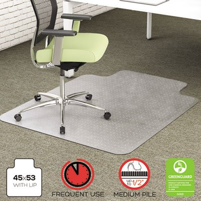 EnvironMat Recycled Anytime Use Chair Mat, Med Pile Carpet, 45x53 w/Lip, Clear, Sold as 1 Each by Generic