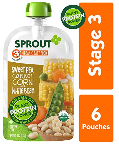Sprout Organic Stage 3 Baby Food Pouches with Plant Powered Protein, Sweet Pea Carrot Corn & White Bean, 4 Ounce (Pack of 6) (Best Pasta For Babies)