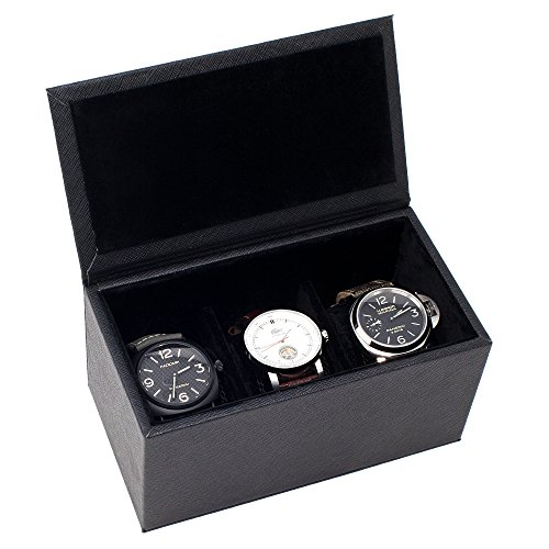 Caddy Bay Collection Watch Box Case Holds 3 Large Watches - High Clearance - Saffiano Black