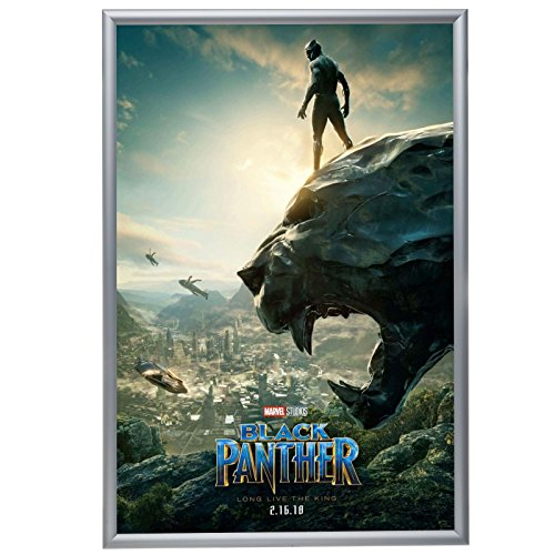 Silver Movie Poster Frame 27x40 Inches, 1.2' SnapeZo Profile, Front Loading Snap Display, Wall Mount, Professional Series
