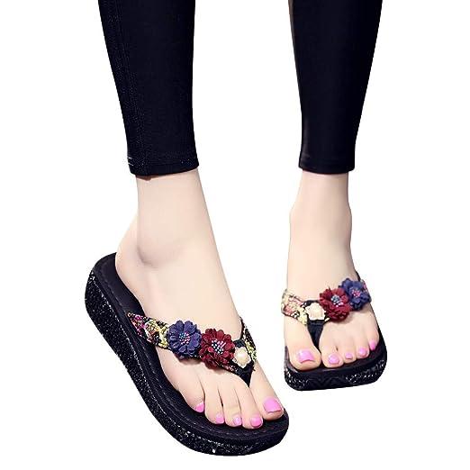 4e5a7f96ac7 Amazon.com: Veodhekai Women Flats Shoes Thick Bottom Sandals Flower ...