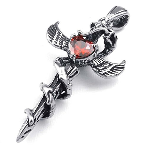 Snake Cross Silver (SODIAL(R) Jewelry Zirconia Diamond Stainless Steel Gothic Snake Wings Cross Dagger Sword Men Pendant with 50cm Necklace, red Silver)