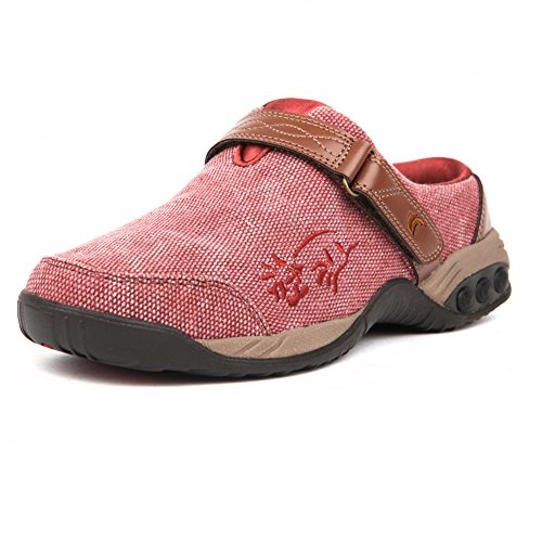 Therafit Shoe Womens Austin Denim Clog Slip on Red GMhqoe3
