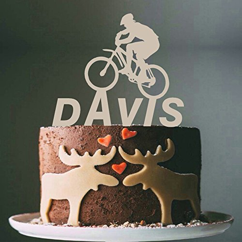 (Mountain Bike Cake Topper Custom Personalized with Your Last Name)