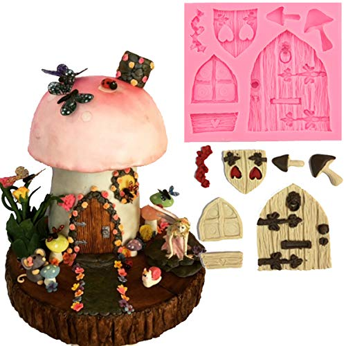 Anyana gnome mold Fairy wizard Silicone Cupcake Baking Molds forest party Fondant molds wood door window Cake Decorating Tools Gumpaste mushroom Chocolate Candy Clay Moulds Non stick easy to use ()