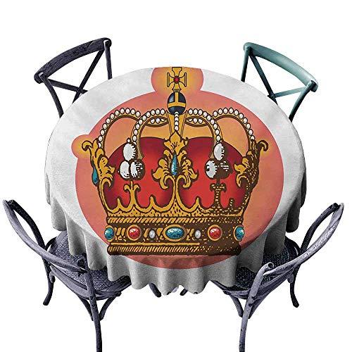 (Lcxzjgk Antifouling Tablecloth Queen Victorian Baroque Style Crown Design Coronet Adornments Engravings Emperor Monarch Multicolor and Durable D59 )