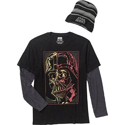 Star Wars Darth Vader Mens Long Sleeve Shirt and Beanie Large Black