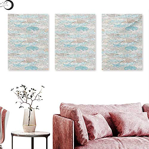 (Nautical Wall Art Oil Paintings Pastel Toned Sea Shell Starfish Mollusk Seahorse Coral Reef Motif Design Wall Panel Art Tan Turquoise White W 20