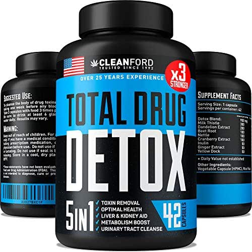 Premium Detox & Liver Cleanse Pills - 5-in-ONE - Natural Detox Pills - Best Toxins Remove Pills to Pass Test - Made in USA