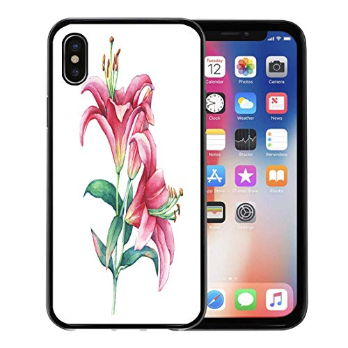 Lilly Branch - Semtomn Phone Case for Apple iPhone Xs case,Purple Lilly Branch Pink Lilies Flower Watercolor Painting Tropical Lilium for iPhone X Case,Rubber Border Protective Case,Black