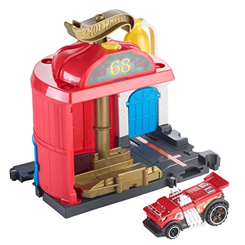 Hot Wheels City Downtown Fire Station Spinout Playset (Hot Fire Wheels Station)
