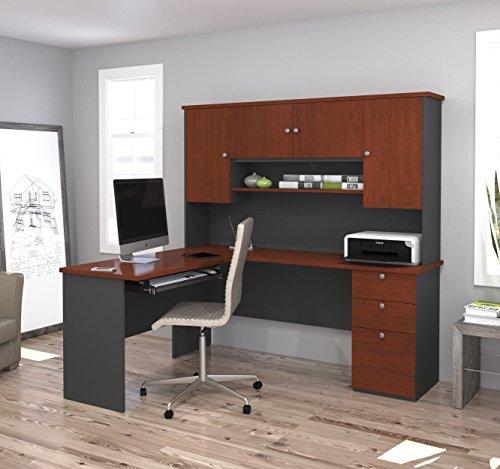 Modern L-shaped Office Desk with Hutch in Bordeaux & Graphite - Bordeaux Corner L-shaped Desk