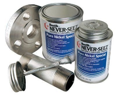 Never-Seez NSBT-8N Silver Pure Nickel Special Anti-Seize Compound, -297 Degree F Lower Temperature Rating to 2400 Degree F Upper Temperature Rating, 8 fl. oz. Brush Top Can by Never-Seez