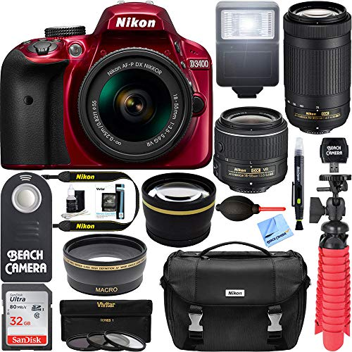 Nikon D3400 24.2 MP DSLR Camera + AF-P DX 18-55mm VR & AF-P DX 70-300mm ED Lens + Bundle 32GB SDXC Memory + Photo Bag + Wide Angle Lens + 2X Telephoto Lens + Flash + Remote +Tripod+Filters (Red) (Flowers Iphone 4g)