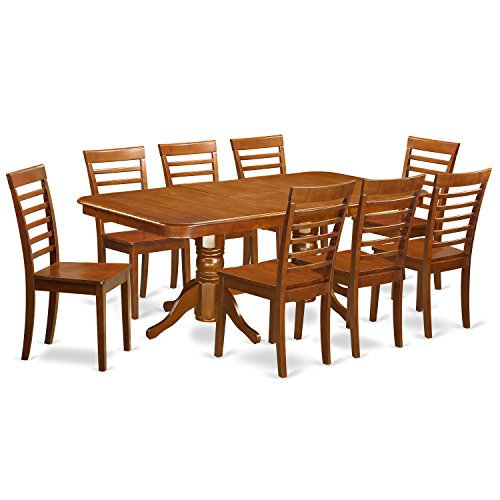 East West Furniture NAML9-SBR-W 9-Piece Dining Table Set