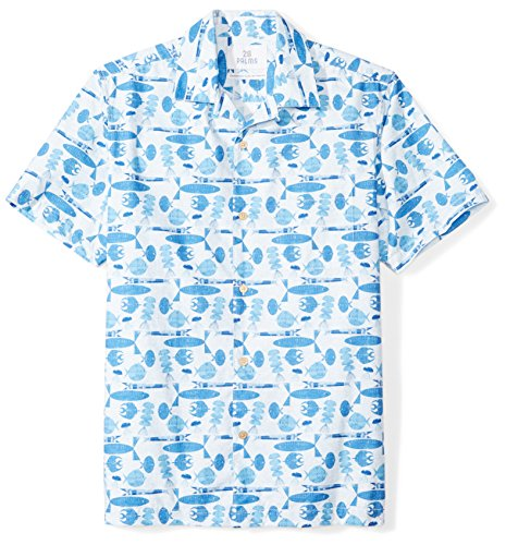 28 Palms Men's Standard-Fit 100% Cotton Tropical Hawaiian Shirt, Blue Tiki Fish, Medium