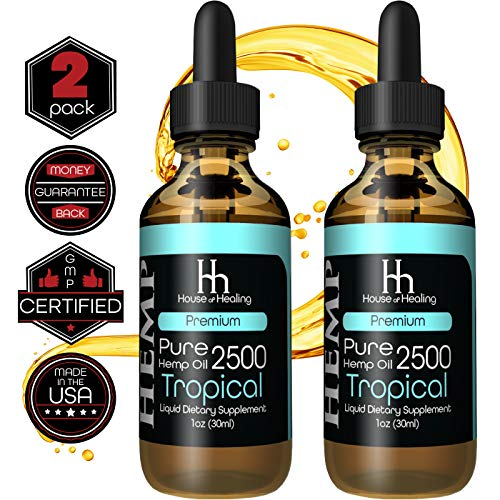 House of Healing Hemp Oil for Pain & Anxiety Relief - (2 Pack) 2500mg - 5000mg Total - Hemp Oil Drops - May Help with Pain, Sleep, Mood, Stress + More! - Hemp Extract - Rich in Omega 3,6,9 (Best Rated Cbd Oil)