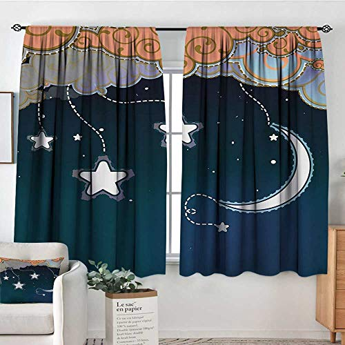 Kids Thermal Insulating Blackout Curtain Cartoon Style Night Sky with Swirled Clouds Stars and Moon Dotted Lines Patterned Drape for Glass Door 72