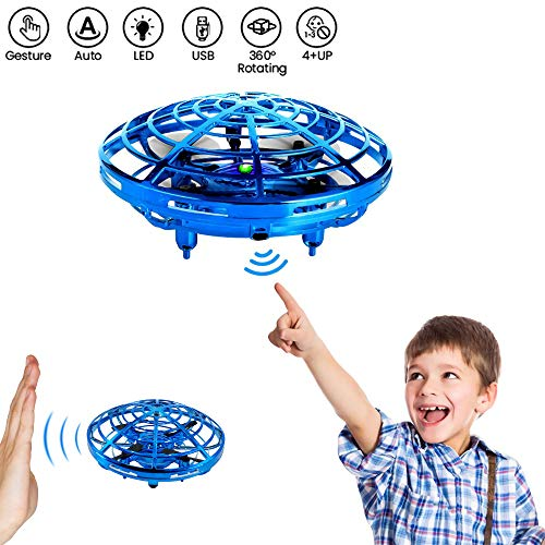 (Bix Flying Toys Drone, Hand-Operated Flying Ball, Interactive Infrared Induction Helicopter Ball 360° Rotating Shinning LED Lights, Flying Toy Boys Girls Kids Holiday Birthday Gifts)