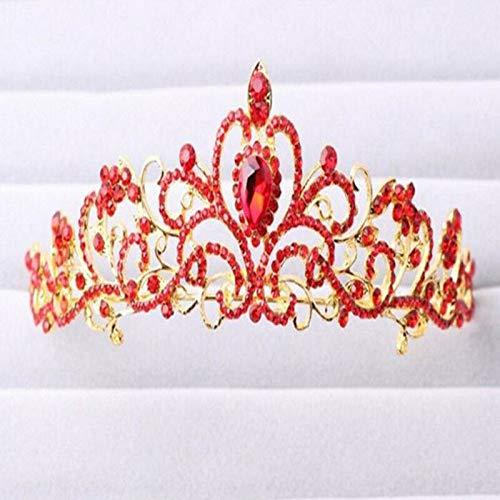 Bridal Princess Rhinestone Crystal Hair Tiara Wedding Party Crown Veil Headband (Color - Gold)
