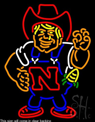 Nebraska Cornhuskers Herby The Husker Clear Backing Neon ...