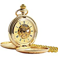 ManChDa Double Cover Roman Numerals Dial Golden Hand Wind Skeleton Mens Women Pocket Watch Gift