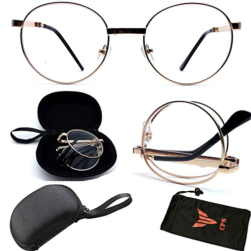 (#VR01C-Fold Gld) Folding Fold Up Premium Quality Round Metal Shape Frame Reading Glasses Readers For Men Women (Strength: +1.00)
