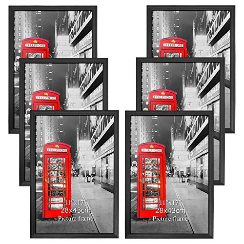Amazing Roo Poster Frame 11x17 Inch Black Picture Frames 6 Pack Without Mat 11 by 17 Wall Mounting Photo Frame