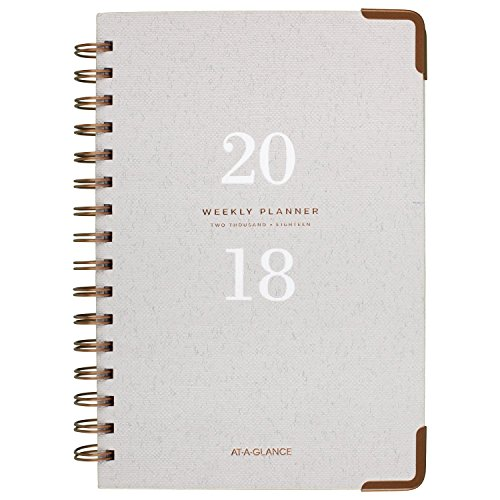 "AT-A-GLANCE Weekly / Monthly Planner, January 2018 - January 2019, 5-3/4"" x 8-1/2"", Hardcover, Signature Collection, Gray (YP20012)"