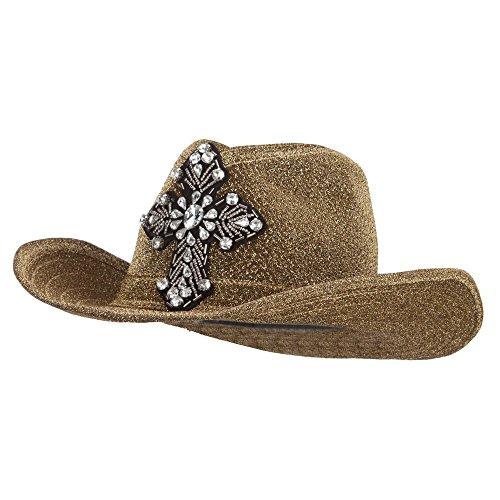 SS/Hat Metallic Cowboy Hat With Cross - Gold OSFM (Hat Yellow Cowboy Gold)