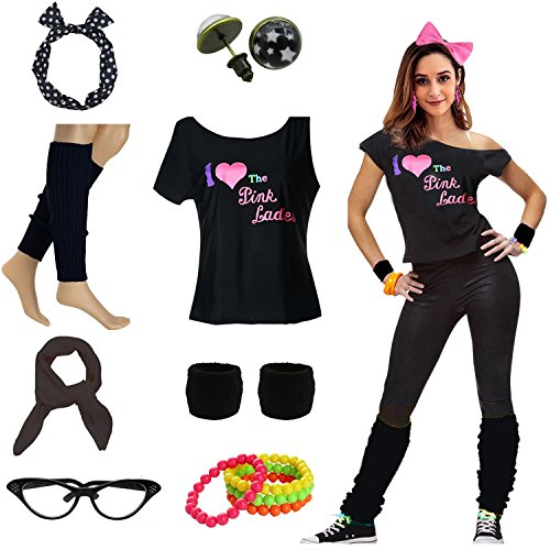 Mygoodie Women Pink Lady T-Shirt 50's Costume Accessories