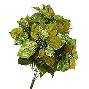 Factory Direct Craft Green Glittered Velvet Poinsettia Bush 46